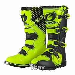 2021 Oneal Rider Boots Motocross MX ATV Quad Dirt Race Bike New HI Viz Yellow