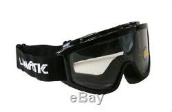 20 Pack Lunatic Motocross Dirt Bike ATV MX Goggles Adult Black Single Lens