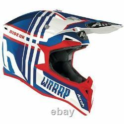 Airoh Wraap Broken Blue/red Gloss Motocross MX Enduro Motorcycle Dirt Atv Helmet
