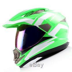 Dual Sport Helmet Motorcycle Full Face Motocross MX ATV Dirt Bike Green White