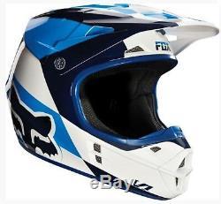 FOX V1 Motocross Helmet NEW Yamaha blue Sm Med Lg MX Dirt Bike ATV Mako