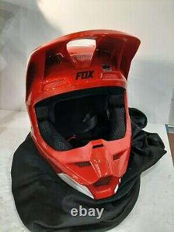 Fox Racing Adult Flame Red/White V1 Revn Dirt Bike Helmet MX ATV SxS UTV Size M
