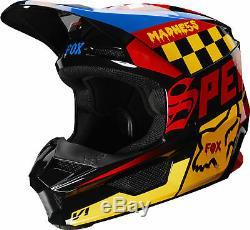 Fox Racing Adult V1 Czar Black/Yellow Dirt Bike Helmet Motocross ATV UTV