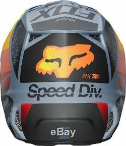 Fox Racing Adult V2 Murc Blue Steel/Orange Dirt Bike Helmet Motocross ATV UTV