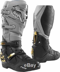 Fox Racing Mens Instinct Grey/Black Dirt Bike Boots Motocross ATV MX