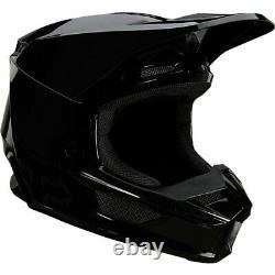 Fox Racing V1 Helmet MX Motocross Dirt Bike Off-Road ATV Gloss Black Adult