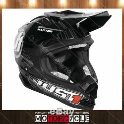 J32 ATV Motorcycle Off Road Motocross Dirt Bike Helmet Gloss Black Raptor XXL