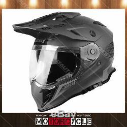 J34 Adult ATV Off Road Motocross MX Dirt Bike Helmet Flat Titanium Shape L DOT