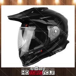 J34 Adult ATV Sport Off Road Motocross MX Dirt Bike Helmet Gloss Black M DOT