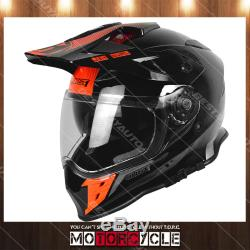 J34 Adult ATV Sport Off Road Motocross MX Dirt Bike Helmet Gloss Black Orange XL