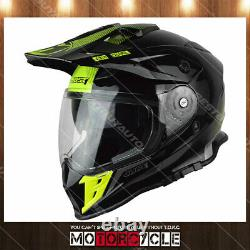 J34 Adult ATV Sport Off Road Motocross MX Dirt Bike Helmet Gloss Black Yellow M