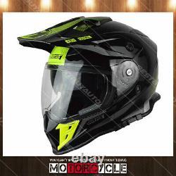 J34 Adult ATV Sport Off Road Motocross MX Dirt Bike Helmet Gloss Black Yellow XL
