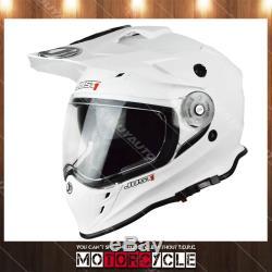 J34 Adult ATV Sport Off Road Motocross MX Dirt Bike Helmet Gloss White XL DOT