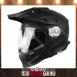 J34 Adult Sport ATV Off Road Snowmobile Motocross Dirt Bike Helmet Flat Black M