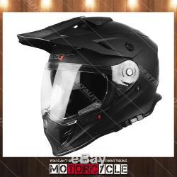 J34 Adult Sport ATV Off Road Snowmobile Motocross Dirt Bike Helmet Flat Black XL