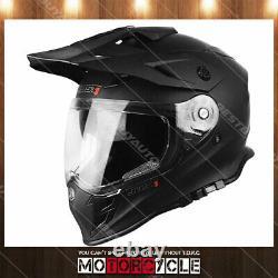 J34 Adult Sport ATV Off Road Snowmobile Motocross Dirt Bike Helmet Flat Black XS