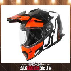 J34 Pro Adult ATV Off Road Motocross Dirt Bike Helmet Gloss Black Tour Orange L