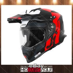 J34 Pro Adult ATV Off Road Motocross MX Dirt Bike Helmet Flat Black Red Black L