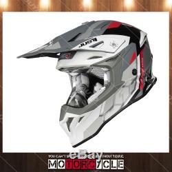 J39 ATV Off Road Motocross Dirt Bike Helmet Flat Gray Reactor White Red Gray L