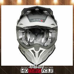 J39 ATV Off Road Motocross Dirt Bike Helmet Flat Gray Reactor White Red Gray M