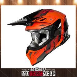 J39 ATV Off Road Motocross Dirt Bike Helmet Gloss Orange Reactor Orange Black L