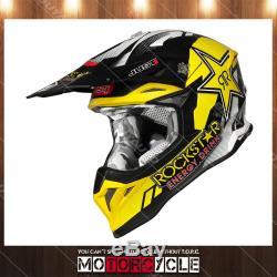 J39 ATV Off Road Motocross MX Dirt Bike Helmet Flat Black Rockstar Energy XL DOT