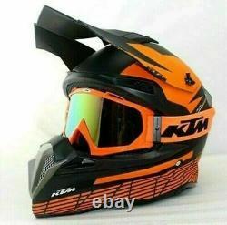 KTM Helmet Racing Motocross Black Orange Dirt Bike Sport Adult ATV Off Road MX