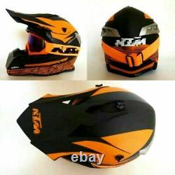 KTM Helmet Sport Adults Racing Motocross Black Orange Dirt Bike ATV off Road MX