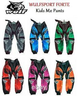 Kids motocross trousers Wulf off road clothing junior dirt bike pant atv bmx