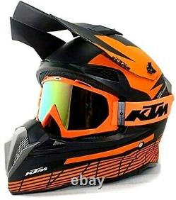 New Adult DOT Motocross Helmet MX BMX ATV Dirt Bike Storm Orange KTMM M, L, XL