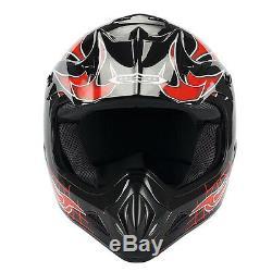 New Adult Motocross Helmet MX BMX ATV Dirt Bike Skull Flame Red Black S M L XL