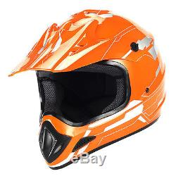 New Adult Motocross Helmet Motorcross MX ATV BMX Dirt Bike Storm Orange S M L XL