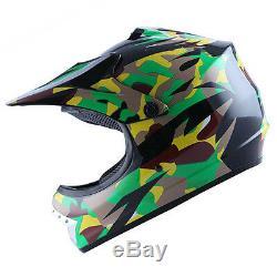 New Youth Kids Motocross Motorcross MX ATV Dirt Bike Helmet Green Camo S M L