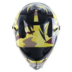 New Youth Kids Motocross Motorcross MX ATV Dirt Bike Helmet Yellow Camo S M L