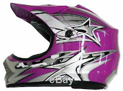 Purple Motocross Helmet & Goggles Kids, Youth, XS S M L, dirt bike, quad, ATV