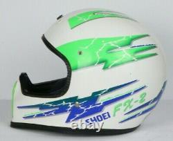 RARE VTG Shoei Motocross Bmx Helmet FX-2 SNELL Neon DOT Dirt Bike Sz. Medium
