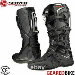 SCOYCO RMX CE Motocross Boots Enduro Dirt Bike Racing ATV MX Off Road Black