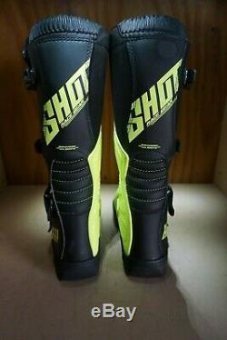 Shot Race Gear X11 Boots 43 9 Neon Yellow Motocross dirt bike atv NEW 244-1518