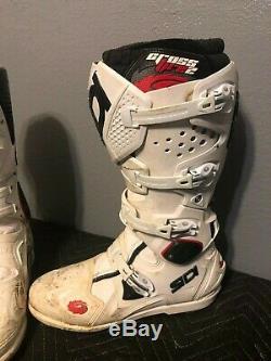 Sidi Crossfire 2 SRS Motocross Boots Size 12.5 Eur 47 White dirt bike atv
