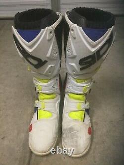 Sidi Crossfire 2 Srs Dirt Bike Boots Size 9 MX Atv Off-road Motocross White