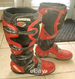 Sidi Crossfire Motocross Boots Size 10 Red Black MX Dirt Bike ATV Enduro Trail