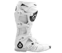 SixSixOne 661 Flight Boot Size 8 White ATV Motocross Off Road Dirt Bike Enduro