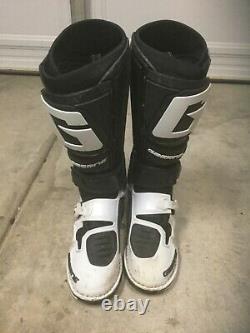 Used Gaerne Sg12 Motocross Boot Black White Size 8 Off-road Atv Dirt Bike